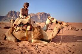 21 Kurz vor Sonnenuntergang mit den Kamelen im Rumshines Camp angekommen.
